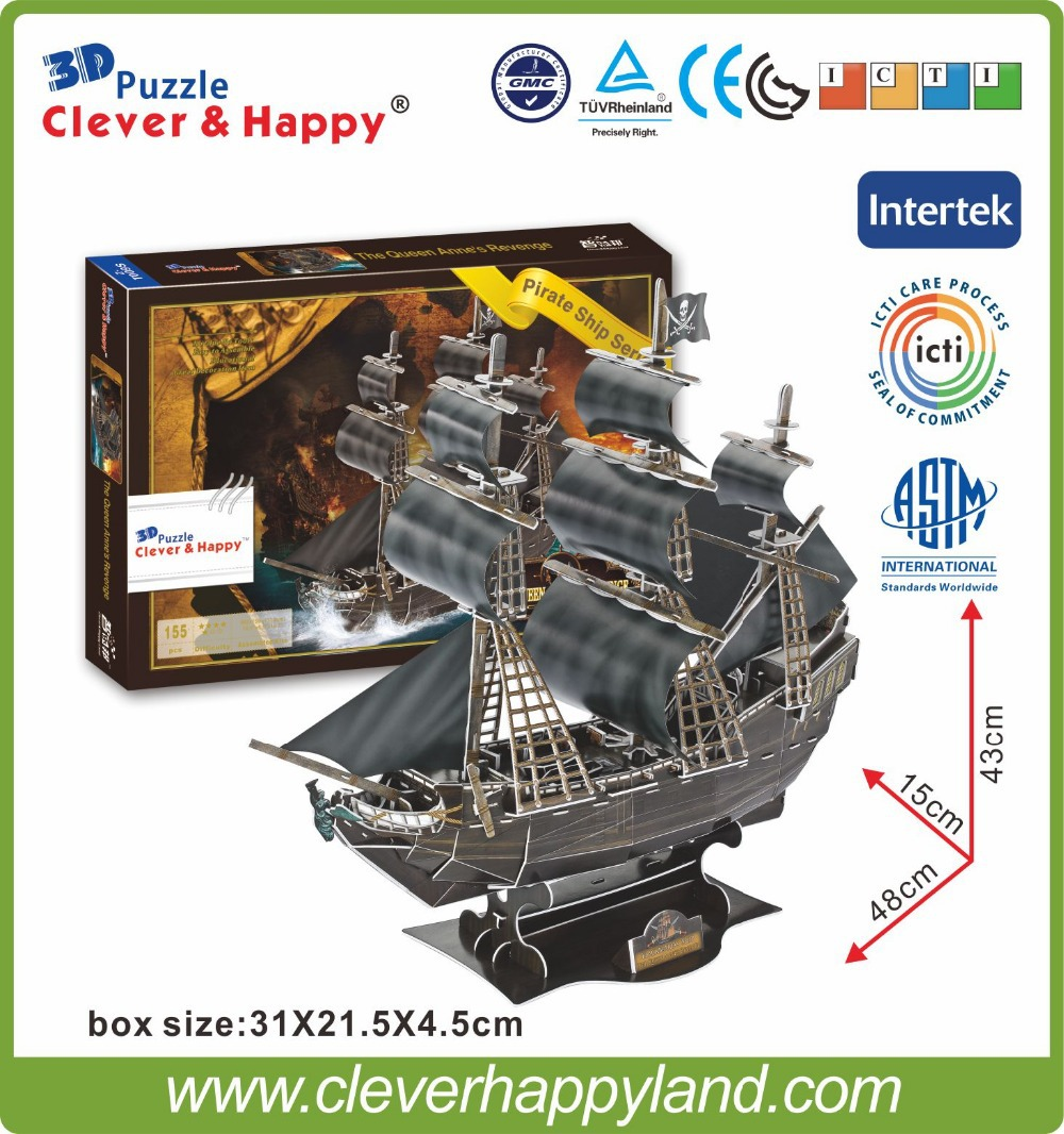 155PCS The Queen Anne's Revenge kinds of handicrafts products 3d jigsaws puzzles toy ships for sale(China (Mainland))