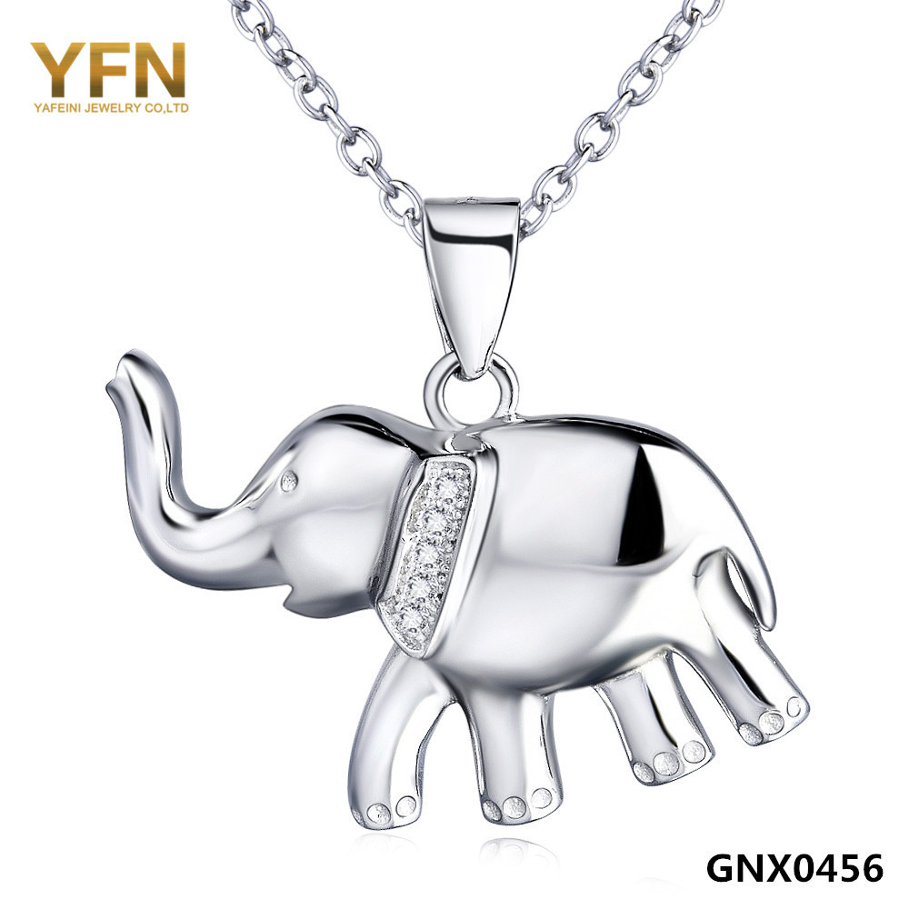 Wholesale GNX0456 925 Sterling Silver Jewelry Crystal Elephant Necklace Fashion Jewelry Silver Pendant Necklace For Women(China (Mainland))