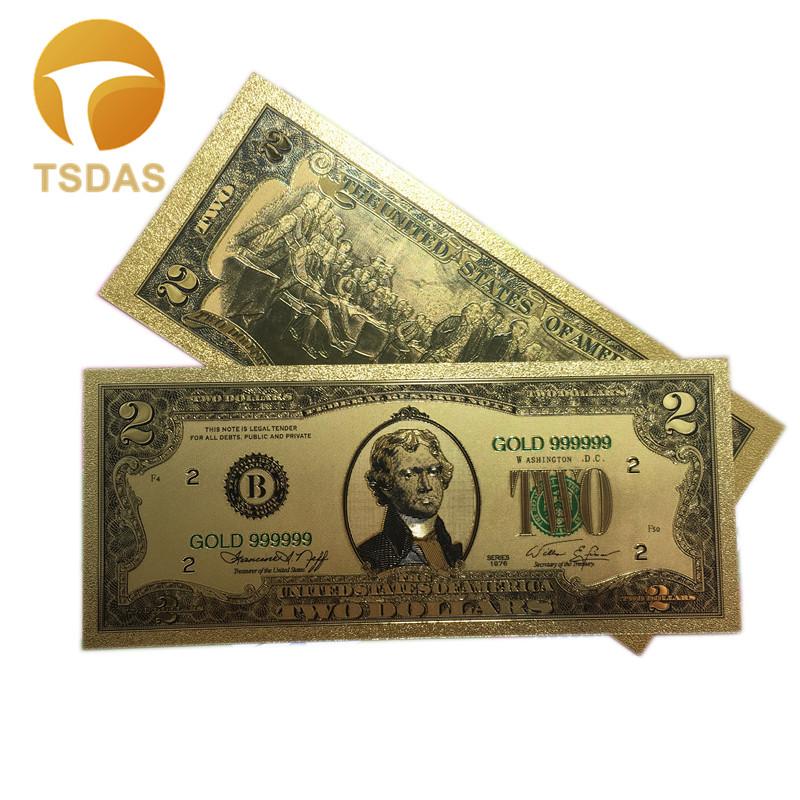 Покрытые настоящим золотом Банкноты набор USD 100/50/20/10/5 коллекции. 999 чистый Билл 24 2-4