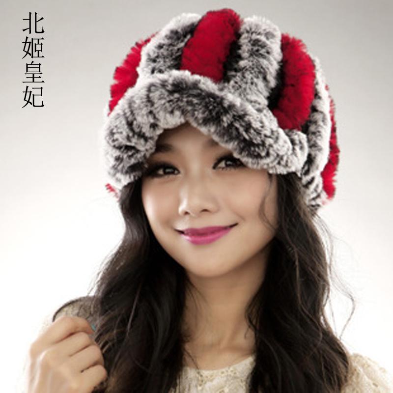 Cap female winter fur rex rabbit hair hat fashion thermal cold cap yarnОдежда и ак�е��уары<br><br><br>Aliexpress