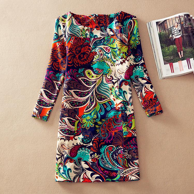 Plus Size Women Clothing 2016 Spring Fall Fashion Flower Print Women Dress Ladies Long Sleeve Casual Autumn Dresses Vestidos(China (Mainland))