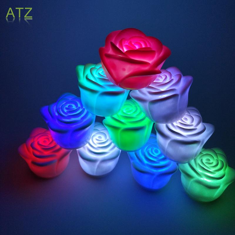 Romantic LED Colorful Rosa Candle Night Lights Colorido Luces De Vela La Noche Del LED Romanticas(China (Mainland))