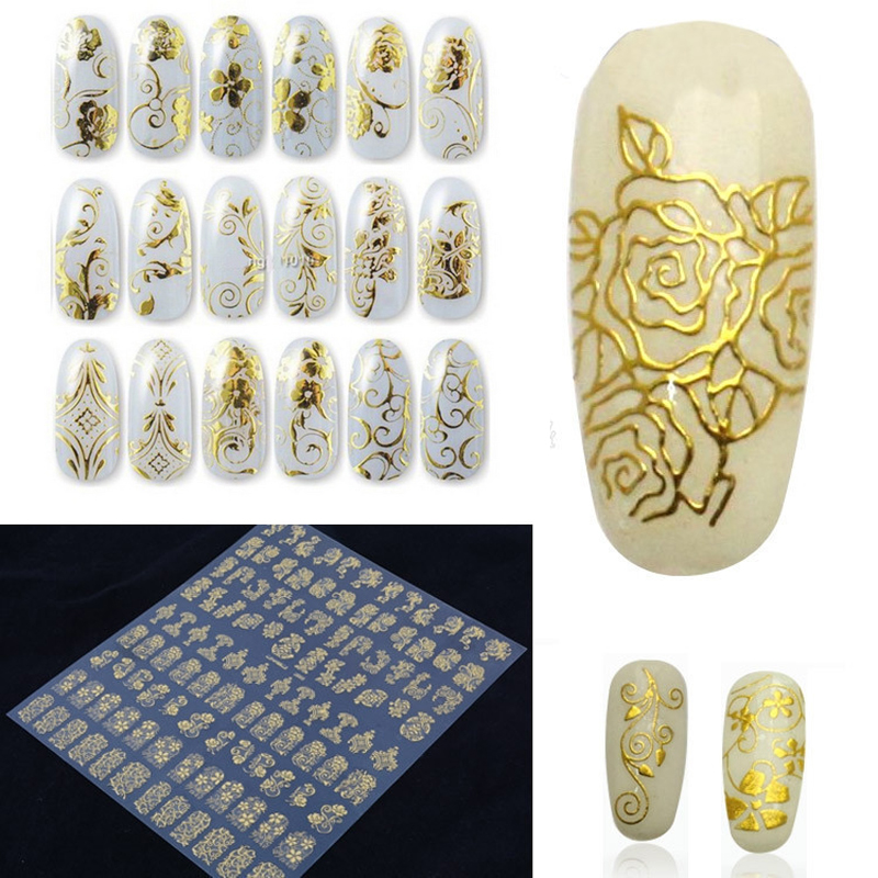 1Set Hot Gold 3D Nail Art Stickers Decals,Metallic Flowers Designs Stickers For Nails Art Decoration Tips Salon Accessory Tools(China (Mainland))