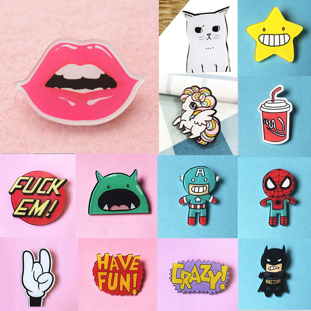 ZOEBER Chlidren pins stock cap bag Cartoon Anime brooches Funny crystal femme brooches patch Cat Dog easy brooch broche retail(China (Mainland))