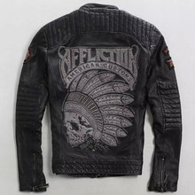 2016 Men Indiana Skulls Pattern Leather Jacket  Embroidery Designs Genuine Cow Leather Short Slim Fit Men Jacket FREE SHIPPING(China (Mainland))
