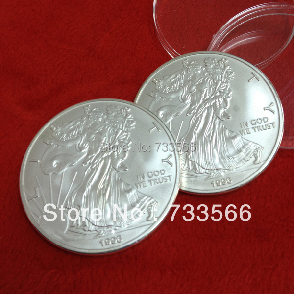 5pcs/lot Non Magnetic Brass Plated Silver Liberty,Silver Eagle Coins Weight 31 Grams One Troy Ounce Coins(China (Mainland))