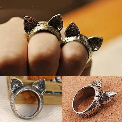 2015 Fahion Vintage Girls Cat Rings Animal Ear Payty Wedding Bands Lovely Zinc Alloy Rings Wholesale 12pcs/Lot B4R7C(China (Mainland))