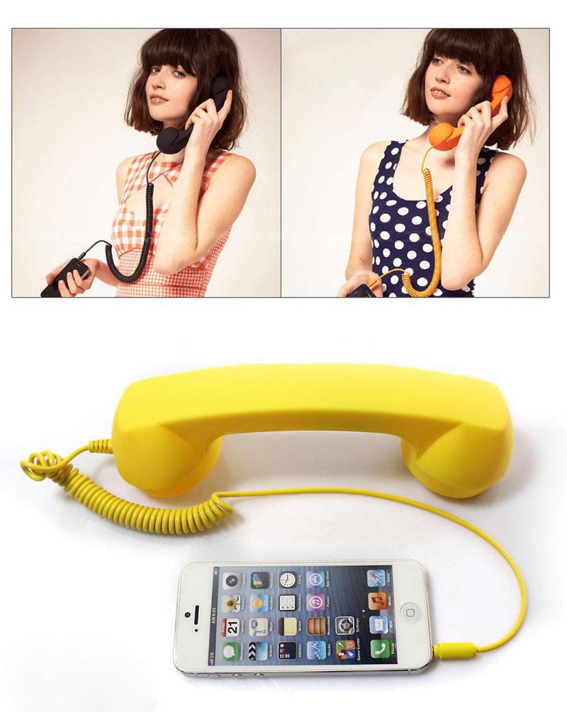 2015 Telephone Receiver 3.5 Retro Headset Earphone Headphone Anti-radiation Mobile Phone Handset For Iphone Computer laptop(China (Mainland))