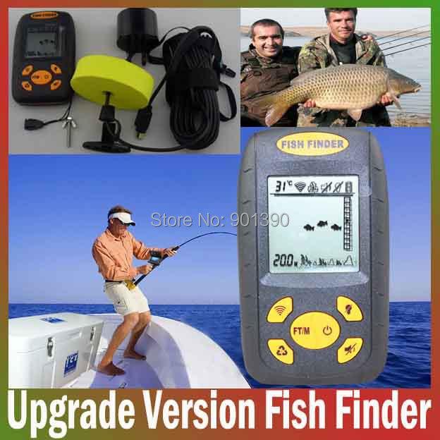 Update Portable Sonar Sensor Fishfinder Big LCD Fish Finder Alarm Fishing equipment for River Lake Sea Bed Live Free Shipping(China (Mainland))