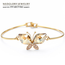 Neoglory Austria Crystal & Auden Rhinestone Bangle Exquisite Butterfly Design 14K Gold Plated Fashion Bracelet For Lady Gift(China (Mainland))