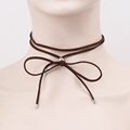2016 New Fashion Brown Suede Leather Wrap Choker Gothic Boho Tie Cord Velvet Chokers Necklace Jewelry