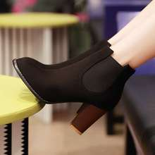 Women Ankle Boots Vintage Square High Heels Design Party Casual Outdoor Dress Spring Autumn Shoes Less Platform Motorcycle Boots(China (Mainland))