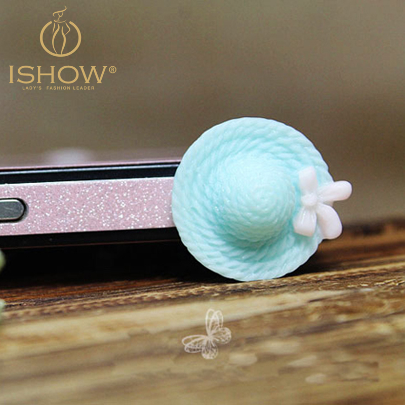 10pcs/lot Cute Candy Color Resin Strawhat Style Cellphone Dust Plug for All 3.5mm Mobile Phones Plugs(China (Mainland))
