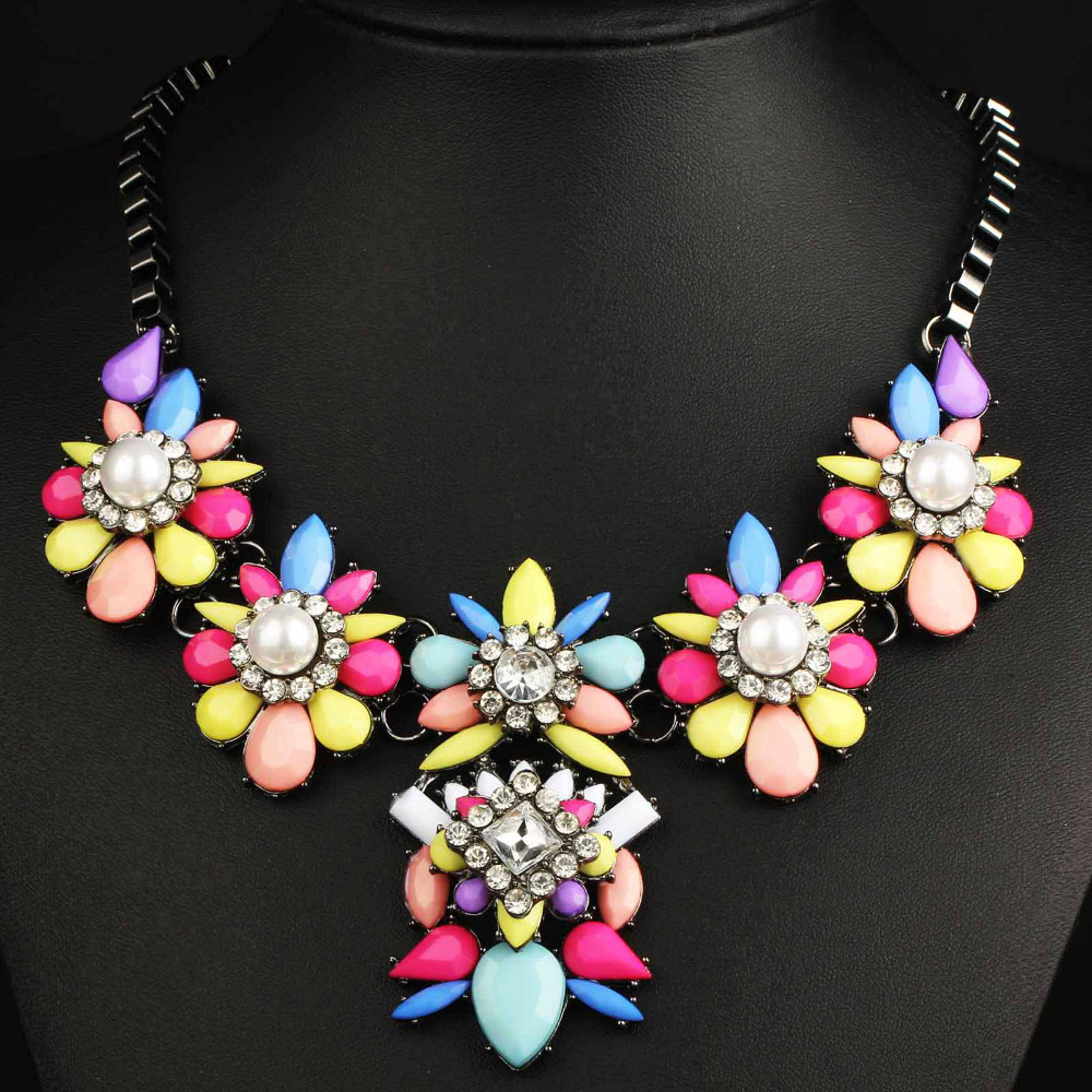 Newest Gorgeous Brand Necklace Jewelry crystal Department Bib Statement Necklace Women Choker Necklaces & Pendants Q686(China (Mainland))