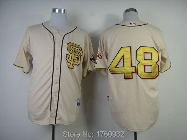 2015 Popular USA Baseball Jersey San Francisco Giants #48 Pablo Sandoval Cool Base Beige Grey Orange White - Store store