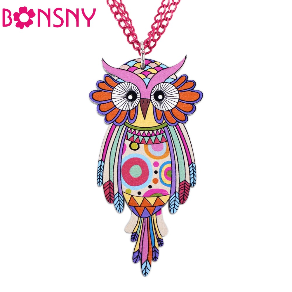 Bonsny Owl Necklace Acrylic Chain Pattern Bird Pendant Original Design Fashion Jewelry For Women 2015 News Brand Accessories(China (Mainland))
