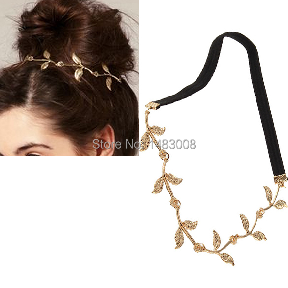 Alloy Leaf Leaves Grecian Garland Forehead Head Hair Band Headband Gold Olive Branch Accessory High Quality(China (Mainland))