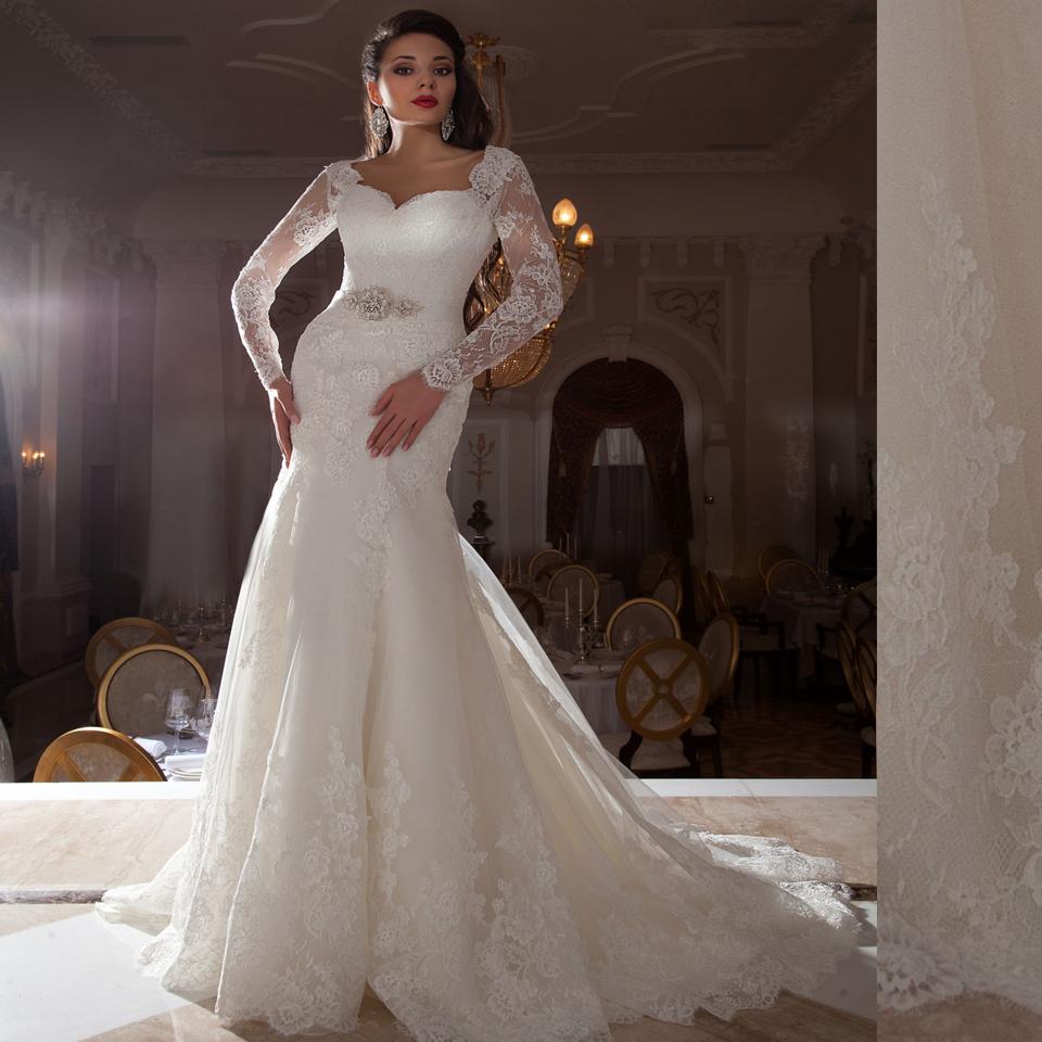 Mzyw0196 full long sleeve lace wedding dresses mermaid for Full sleeve lace wedding dress