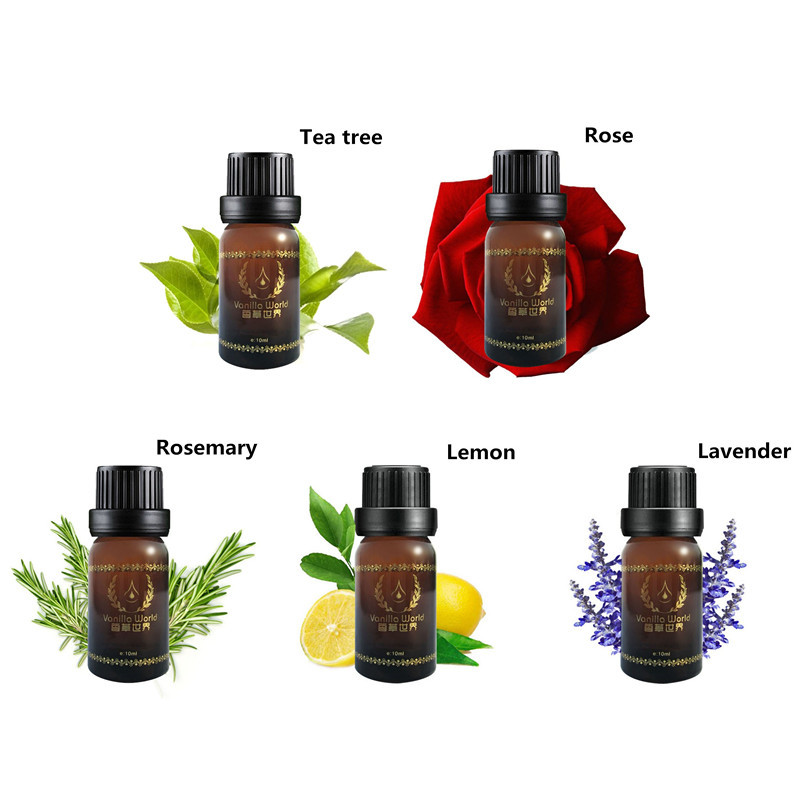 10g/ml 100% Pure Lemon, Lavender, Tea Tree, Rosemary, Rose Essential Oils Pack For Aromatherapy, Massage, Spa, Bath 5pcs/lot(China (Mainland))