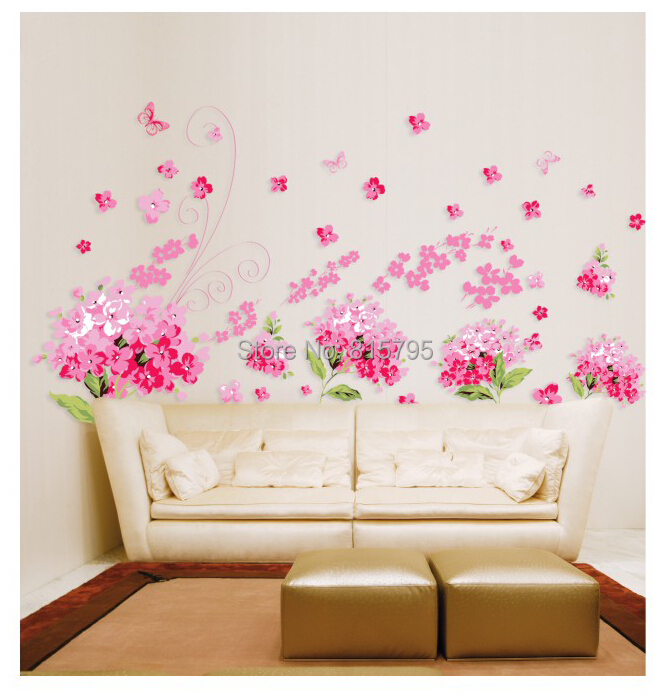 150x90cm 59x36 AY957 Decorative Flowers Wall Stickers
