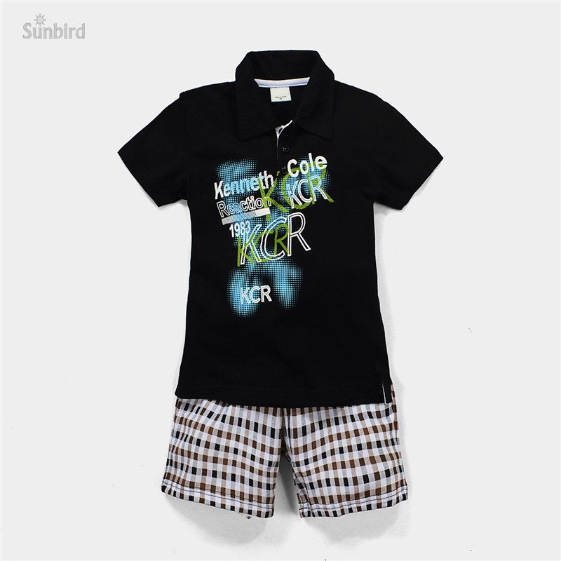 JTS178, letter, 6sets/lot, summer children boys clothing sets, short sleeve shirts + shorts for 1-6 year, 100% cotton<br><br>Aliexpress