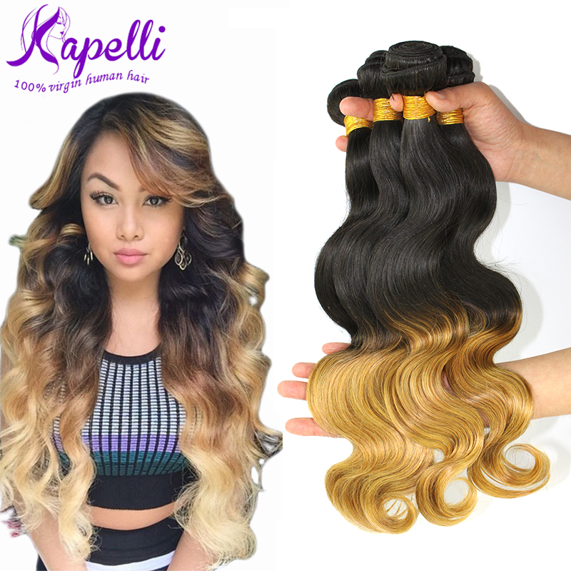 Hot Sale 8A Brazilian Virgin Hair Body Wave Ombre Hair Extensions 4pcs/Lot Brazilian Hair Weave Bundles Ombre Brazilian Hair