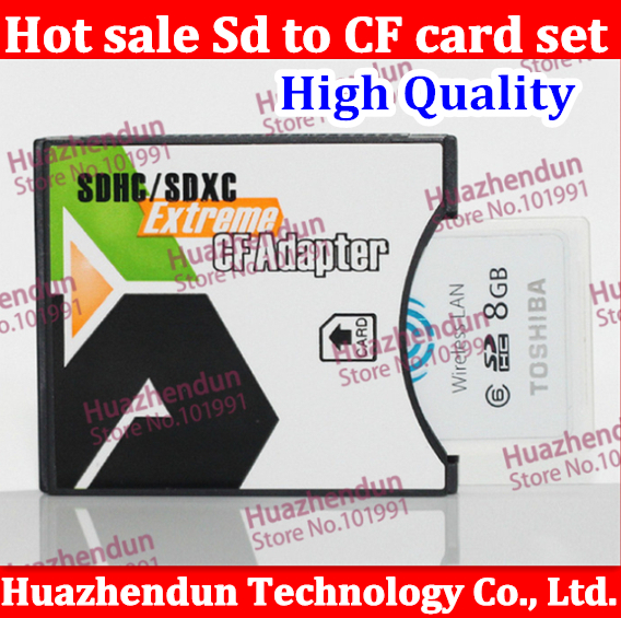 2pcs/lot Free shipping SDHC SD MMC SDHC 4/64GB to Compact Flash CF Type II Card Reader Adapter SD to CF card sets wifiSD TO CF(China (Mainland))