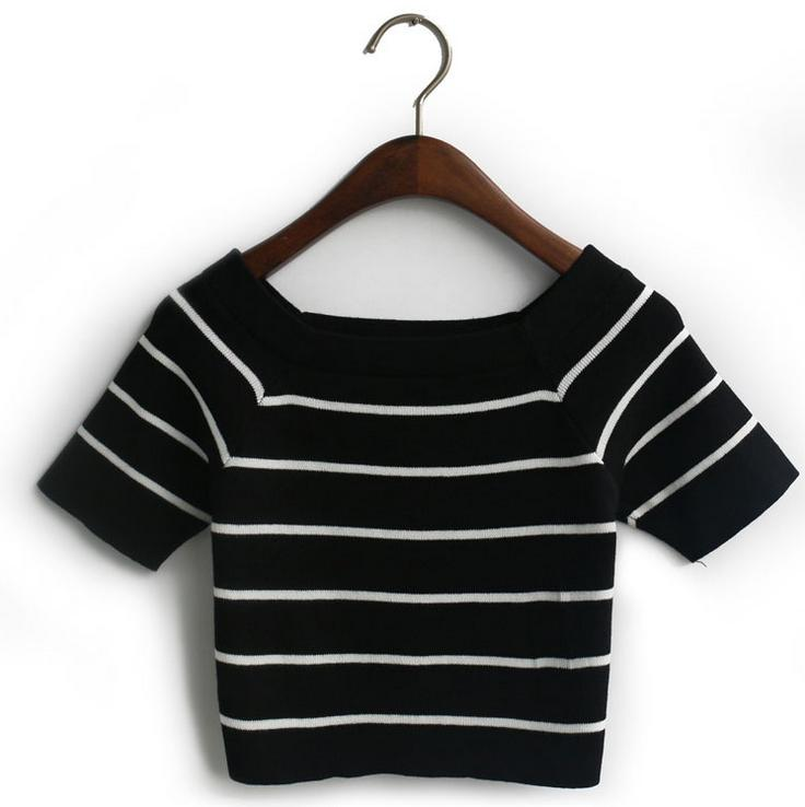 New Arrival T Shirts Girls Women Striped Knitted Crop Tops O-neck Short Sleeve Sexy Casual Summer Tops Christmas Gift(China (Mainland))