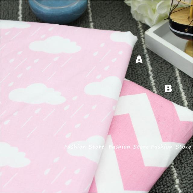 4050 см Розовые Облака капли дождя Хлопчатобумажной Ткани для Домашнего Текстиля Ребенок волна одеяла Подушки Швейные Материал Ткань Telas в Лоскутное