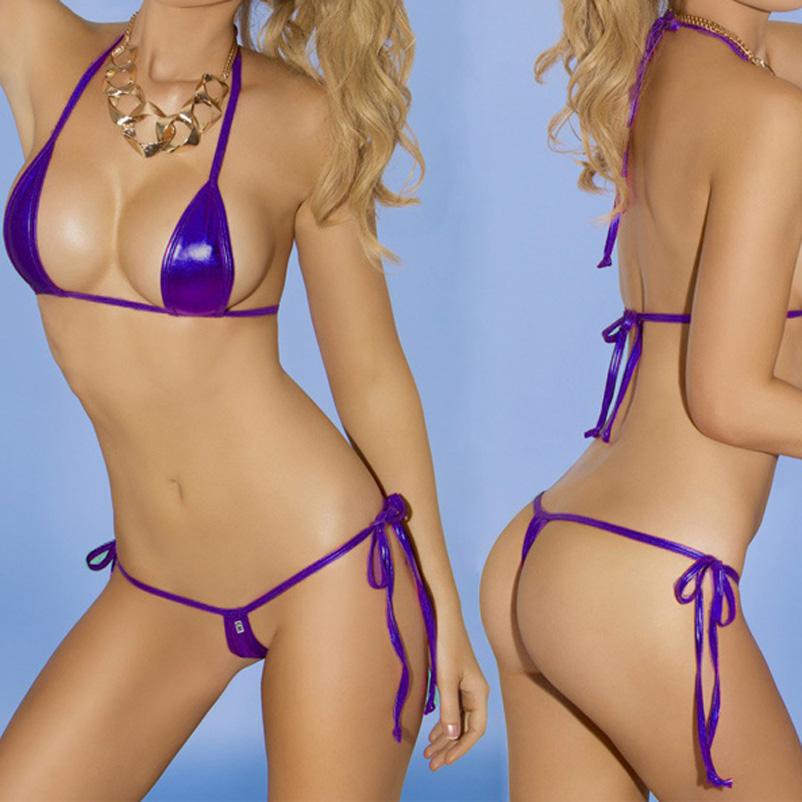 hot leather Sexy lingerie Metallic bra Top and G-String Micro mini bikini swimwear beachwear Set night club party dress(China (Mainland))