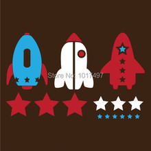 High quality rocket Ships Stars Space Vinyl Wall Decal Stickers ,3 piece/set Kids Airplane Aircraft wall stickers free shipping(China (Mainland))