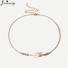 Jisensp Simple Design Bead Seashell Charm Necklace for Women Bohemian Summer Beach Seashell Chokers Necklace collier femme 2019(China)