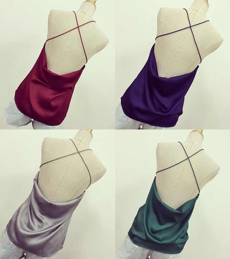 Elina's shop New 2016 summer woman solid backless sling Satin Halter top straps female strapless camisoles tank top bralette(China (Mainland))