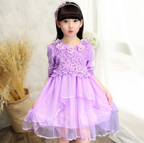 2016 Long Sleeves Toddler Coronation Lace Dresses Up Girls Party Costume Princess Baby Kids Vestido Infantil Layered Dress(China (Mainland))