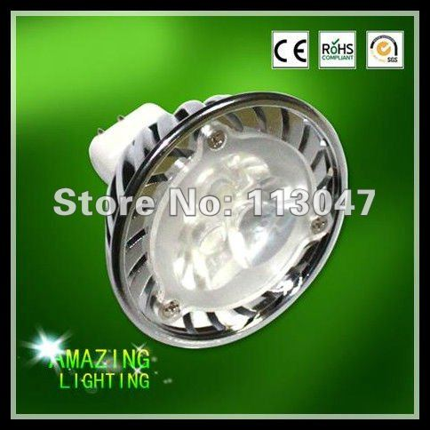 100X free shipping High Power 3W MR16 GU10 E27 E14 GU5.3 3*1W Spotlight Lamp LED 12V Light Bulb Downlight(China (Mainland))