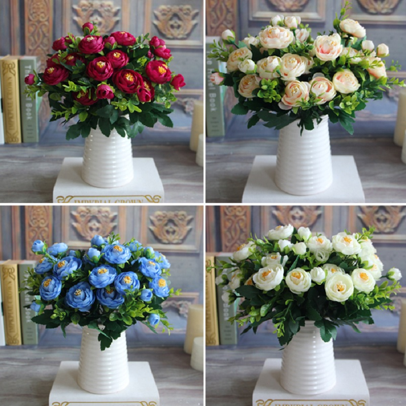 New Multi Color Realistic 6 Branches Spring Artificial Fake Peony Flower Arrangement Home Table Room Hydrangea Decor(China (Mainland))