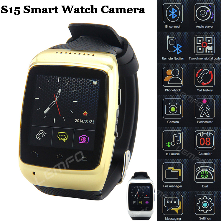 Smart Watch ZGPAX S15 Bluetooth Smartwatch 8GB 2MP Camera 1.54'' Sync Android Luxury Mate For Samsung S5 Note 4 HTC Huawei Nokia(China (Mainland))