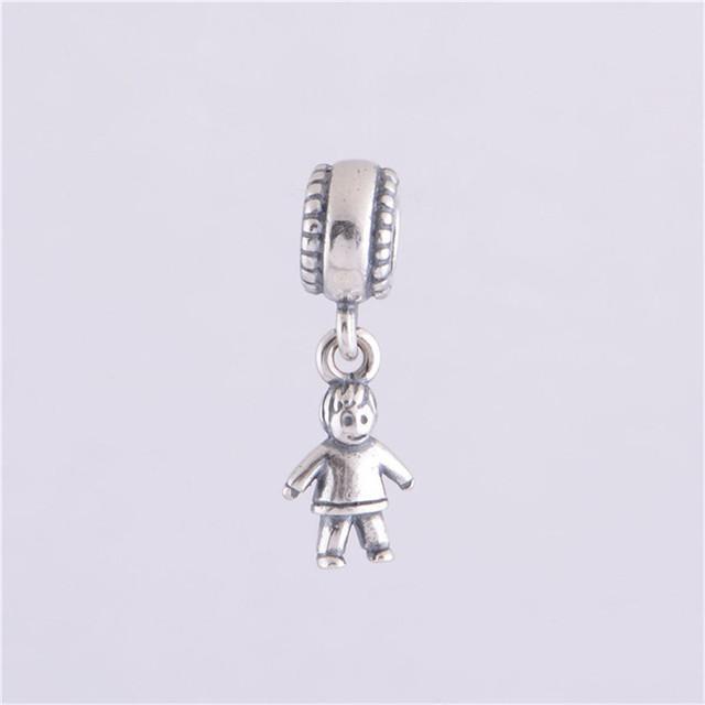 Подходит пандоры прелести браслет 925 серебряные ювелирные изделия бусины милый мальчик европейский шарм DIY мода ювелирных изделий LW159