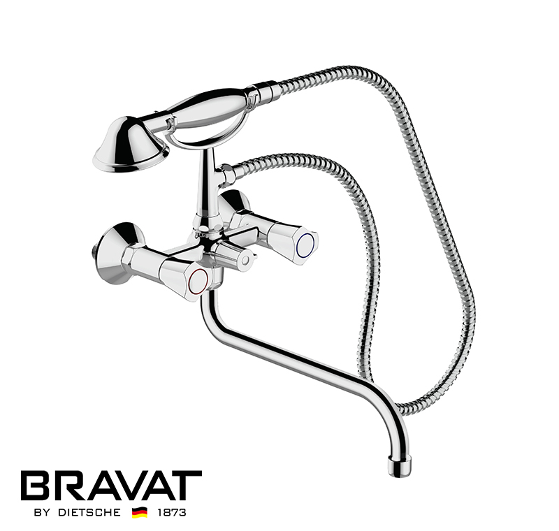 Chrome Finish Waterfall Shower Set High Pressure Water Faucet Two Handles Wall Mounted Bath