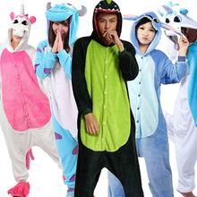 Lovers Unicorn Unisex Flannel Hooded Pajamas Adults Cosplay Cartoon Cute Animal Onesies Kigurumis Sleepwear HoodiesFor Women Men(China (Mainland))