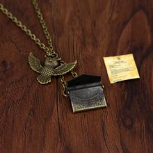 Vintage Style Owl Message Hogwarts Acceptance Letter Envelope Pendant Maxi Necklace Drop Shipping Bronze(China (Mainland))