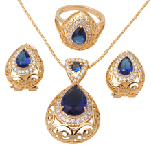 Heart Blue Topaz 18K Gold Plated Zirconia Health Nickel & Lead free Earring Necklace Ring sz #7.5 #6.75 #8.5 Jewelry Set JS307A