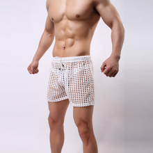 Buy New men's boxer underwear loose sexy mesh cutout capris male breathable mesh gauze knee-length boxer shorts 5 colors for $9.99 in AliExpress store