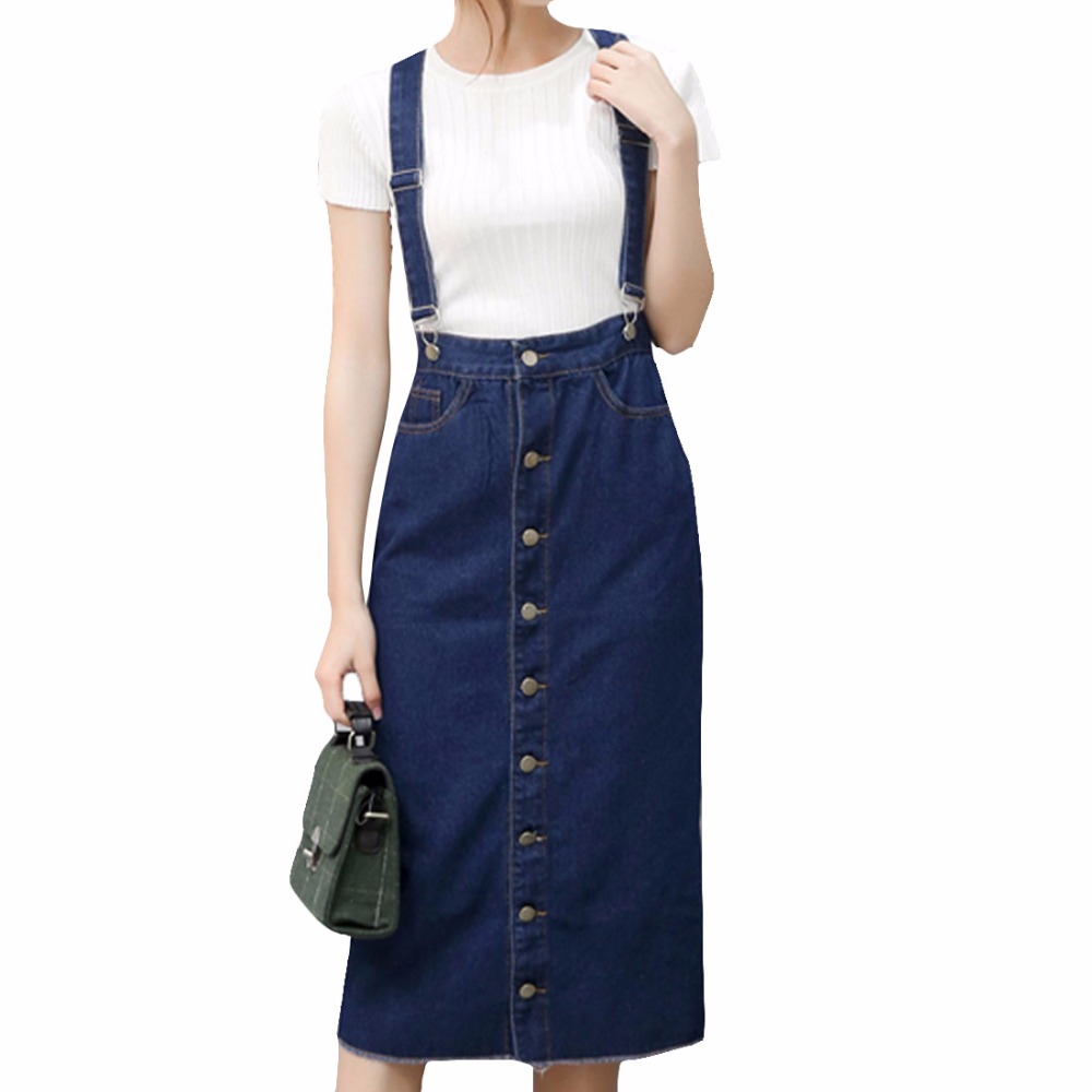 popular denim skirt with suspenders buy cheap denim skirt