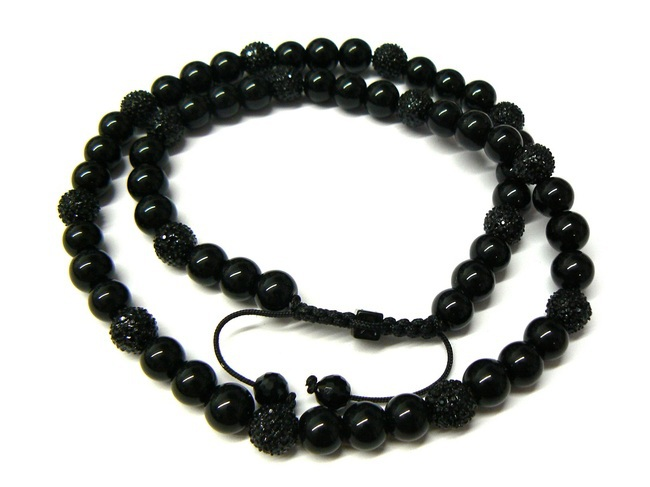 No min order classic shamballa 10mm black crystal beaded necklaces jewelry for men <br><br>Aliexpress