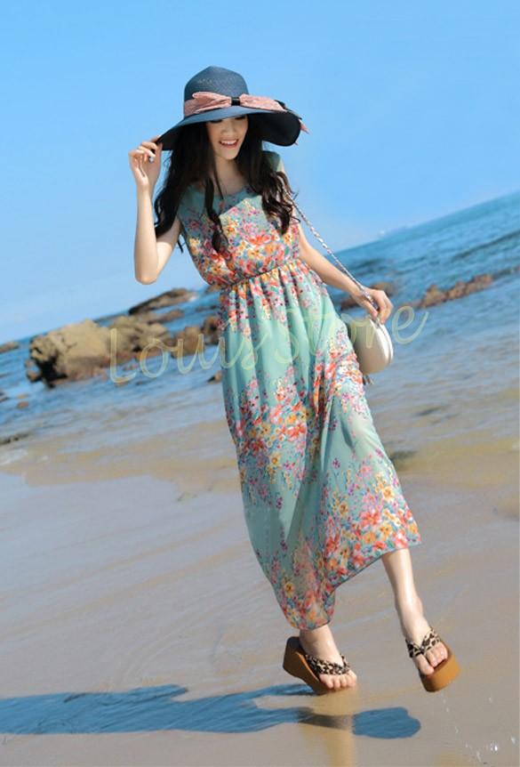 2015 Top Sale Women Chiffon Summer Vestidos Flower Printed Ladies Long Dress Beach Sundress Maxi Dress Wholesale sleeveless 51(China (Mainland))