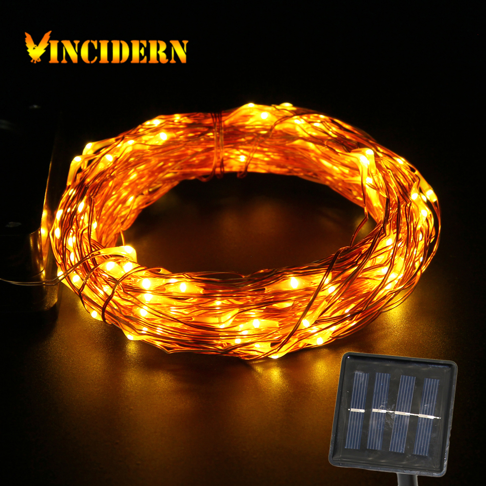 Solar Copper Wire String Patio Lights 50ft 150 LED Outdoor Waterproof Warm/Cold White Fairy ...