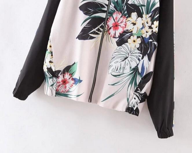 2016 Harajuku цветочный принт новых мужчин стенд воротник контрастного цвета цветок бомбардировщика пальто пилоты верхняя одежда черный