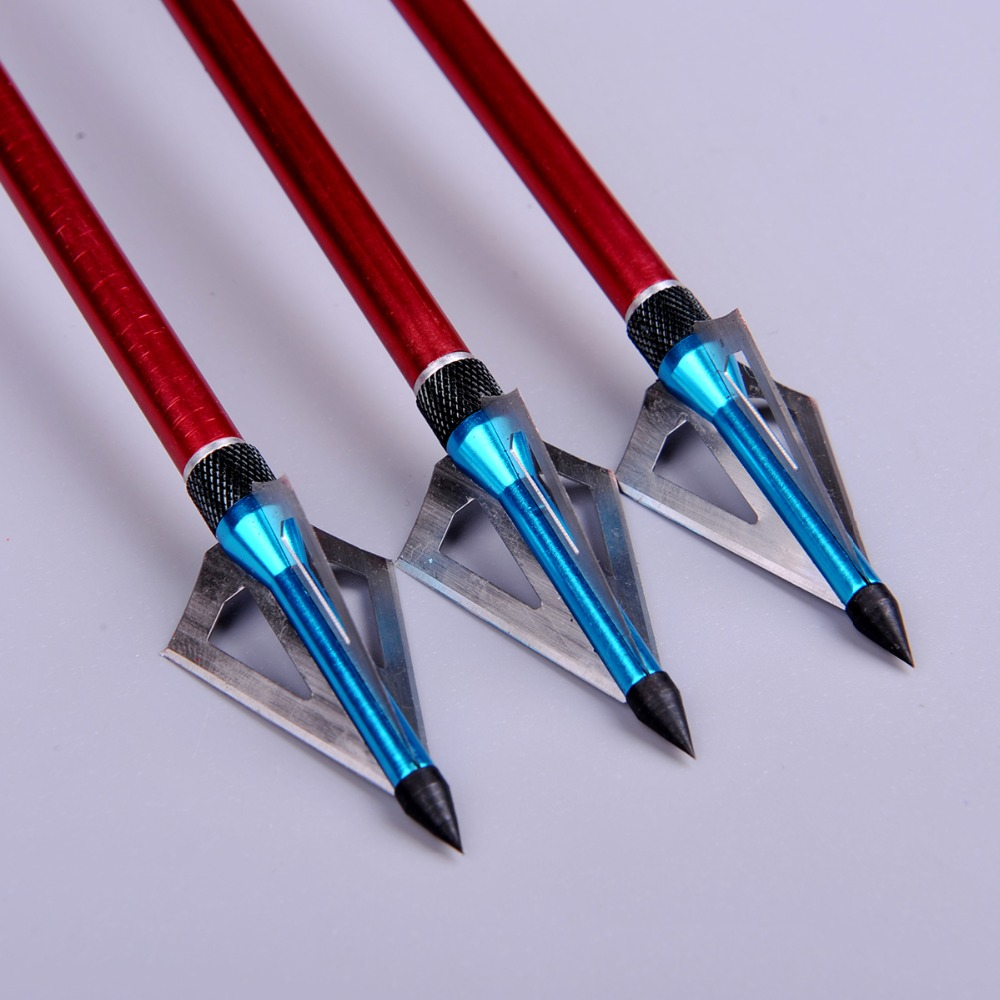 3pcs lot Hunting Crossbow Arrow Broadhead 100 Grain with 3 Fixed Blades used As Archery Bow