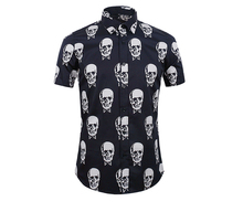 Luxury Brand Men Short Sleeve Shirts 100% Cotton Male Europe Style Skull Printed Slp Shirt(China (Mainland))